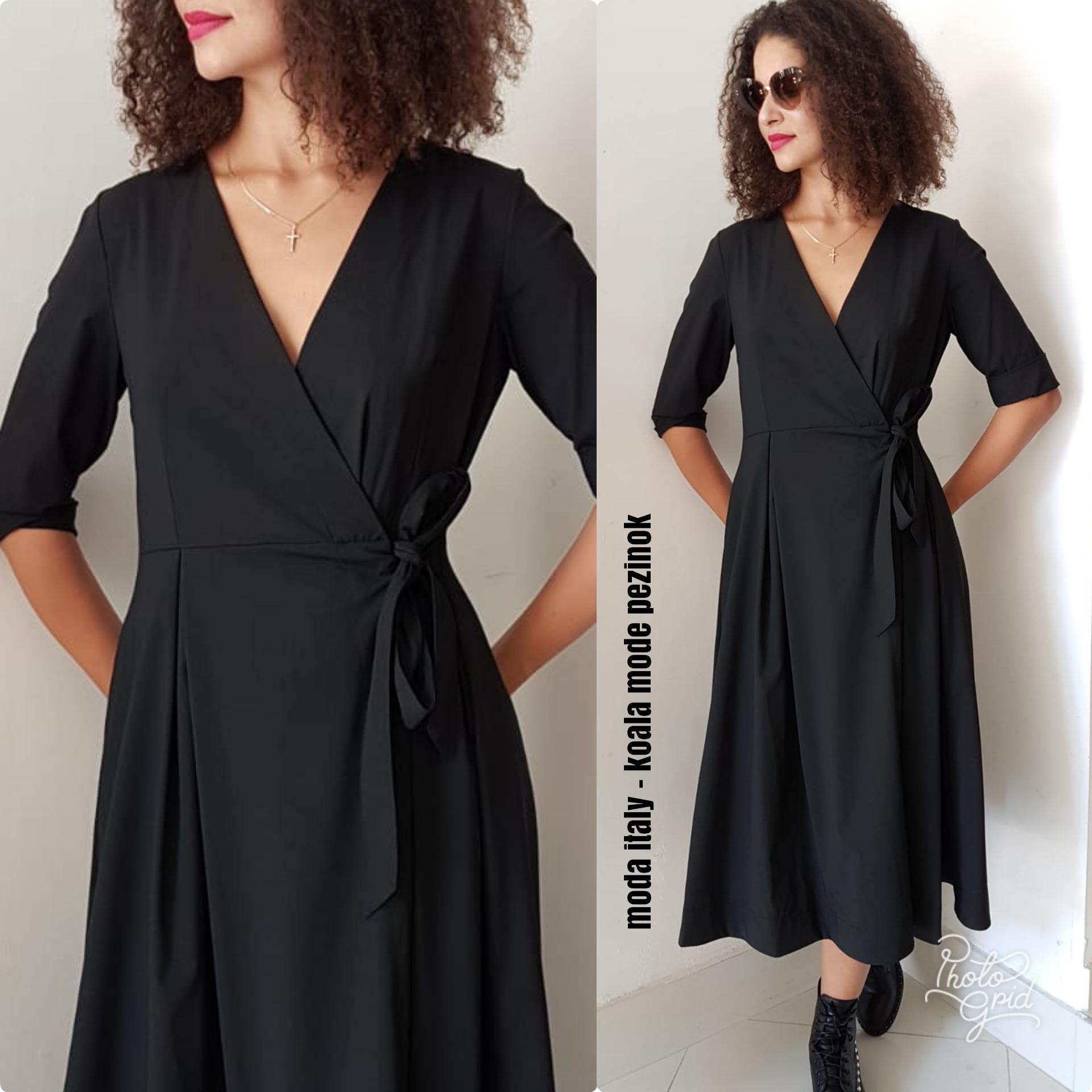 75cbcf590 Šaty čierne zavinovacie s mašľou | Milanofashion
